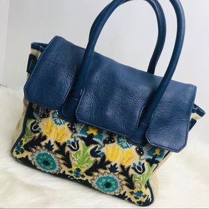 SAM EDELMAN Embroidered blue leather handbag